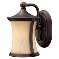 Thistledown 1 Light 10 inch Victorian Bronze Outdoor Wall Lantern, Amber Linen Glass