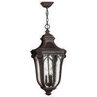 Trafalgar 1 Light 12 inch Mocha Outdoor Hanging in GU24, Clear Seedy Glass