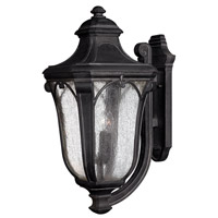 Hinkley 1319MB-GU24 Trafalgar 1 Light 27 inch Museum Black Outdoor Wall in GU24, Clear Seedy Glass