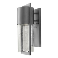 Hinkley 1320HE-GU24 Shelter 1 Light 16 inch Hematite Outdoor Wall Lantern in GU24, Clear Seedy Glass