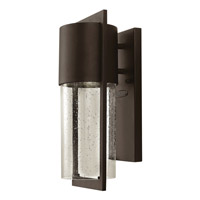 Hinkley 1320KZ-GU24 Shelter 1 Light 16 inch Buckeye Bronze Outdoor Wall Lantern in GU24, Clear Seedy Glass