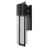 Hinkley 1324BK-GU24 Shelter 1 Light 21 inch Black Outdoor Wall Lantern in GU24, Clear Seedy Glass