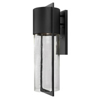 Hinkley 1325BK-GU24 Shelter 1 Light 23 inch Black Outdoor Wall in GU24, Clear Seedy Glass