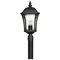 Hinkley 1331MB-LED Wabash 1 Light 23 inch Museum Black Post Lantern in LED, Post Sold Separately, Clear and Etched Glasses