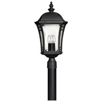 Hinkley 1331MB Wabash 3 Light 23 inch Museum Black Outdoor Post Mount in Incandescent, Post Sold Separately