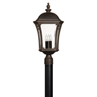 Hinkley 1331MO-LED Wabash 1 Light 23 inch Mocha Post Lantern in LED, Post Sold Separately, Clear and Etched Glasses