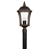 Wabash 3 Light 23 inch Mocha Post Lantern in Incandescent, Post Sold Separately