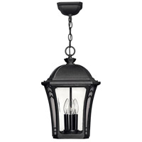 Hinkley Lighting Wabash 3 Light Outdoor Hanging Lantern in Museum Black 1332MB photo thumbnail