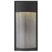 Shelter 1 Light 18 inch Black Outdoor Wall Mount, Clear Seedy Glass