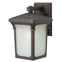 Stratford 1 Light 13 inch Oil Rubbed Bronze Outdoor Wall in GU24, Seedy Linen Glass