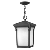 Stratford 1 Light 10 inch Museum Black Outdoor Hanging in GU24, Seedy Linen Glass