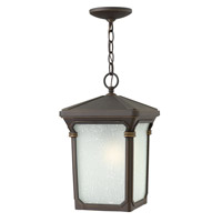 Stratford 1 Light 10 inch Oil Rubbed Bronze Outdoor Hanging in LED, Seedy Linen Glass