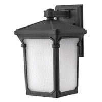 Hinkley 1354MB-GU24 Stratford 1 Light 16 inch Museum Black Outdoor Wall in GU24, Seedy Linen Glass