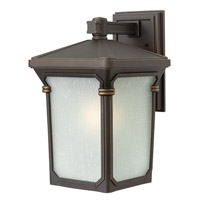 Hinkley 1354OZ-GU24 Stratford 1 Light 16 inch Oil Rubbed Bronze Outdoor Wall in GU24, Seedy Linen Glass