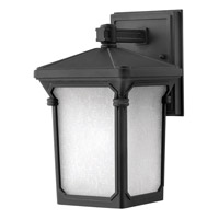 Hinkley 1356MB-GU24 Stratford 1 Light 11 inch Museum Black Outdoor Wall in GU24, Seedy Linen Glass