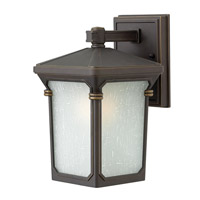 Stratford 1 Light 11 inch Oil Rubbed Bronze Outdoor Wall in GU24, Seedy Linen Glass