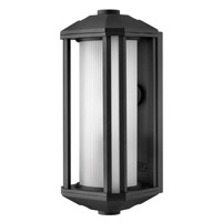 Castelle 1 Light 15 inch Black Outdoor Wall in Ribbed Etched, GU24, Ribbed Etched Glass