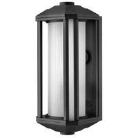 Castelle LED 15 inch Black Outdoor Wall Mount in Ribbed Etched, Ribbed Etched Cylinder Glass