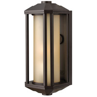 Hinkley 1390BZ Castelle 1 Light 15 inch Bronze Outdoor Wall Mount in Amber Etched, Incandescent