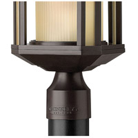 Hinkley 1391BZ-LED Castelle LED 17 inch Bronze Outdoor Post Mount, Ribbed Etched Amber Cylinder Glass alternative photo thumbnail