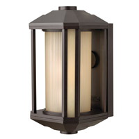 Hinkley 1394BZ-GU24 Castelle 1 Light 13 inch Bronze Outdoor Wall in Amber Etched, GU24, Ribbed Etched Glass