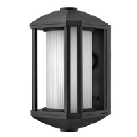 Hinkley Lighting Castelle 1 Light Outdoor Wall Lantern in Black with Ribbed Etched Cylinder Glass 1394BK-LED