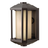 Hinkley Lighting Castelle 1 Light Outdoor Wall Lantern in Bronze with Ribbed Etched Amber Cylinder Glass 1394BZ-LED