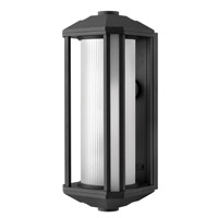 Castelle 1 Light 18 inch Black Outdoor Wall in Ribbed Etched, GU24, Ribbed Etched Glass