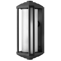 Castelle LED 18 inch Black Outdoor Wall Mount in Ribbed Etched, Ribbed Etched Cylinder Glass