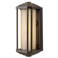 Castelle 1 Light 18 inch Bronze Outdoor Wall in Amber Etched, GU24, Ribbed Etched Glass