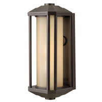 Castelle LED 18 inch Bronze Outdoor Wall Mount in Ribbed Etched Amber, Ribbed Etched Amber Cylinder Glass