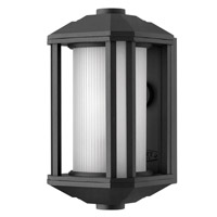 Castelle 1 Light 12 inch Black Outdoor Wall in Ribbed Etched, GU24, Ribbed Etched Glass