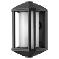 Hinkley 1396BK-LED Castelle LED 12 inch Black Outdoor Mini Wall Mount, Ribbed Etched Cylinder Glass