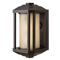 Hinkley 1396BZ-LED Castelle LED 12 inch Bronze Outdoor Mini Wall Mount in Ribbed Etched Amber, Ribbed Etched Amber Cylinder Glass