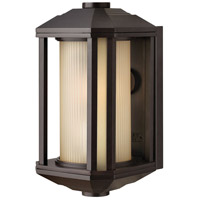 Hinkley 1396BZ Castelle 1 Light 12 inch Bronze Outdoor Mini Wall Mount in Amber Etched, Incandescent