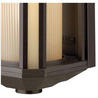 Hinkley 1396BZ-LED Castelle LED 12 inch Bronze Outdoor Mini Wall Mount, Ribbed Etched Amber Cylinder Glass alternative photo thumbnail