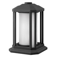 Castelle 1 Light 13 inch Black Pier Mount Lantern in Ribbed Etched, GU24, Ribbed Etched Glass