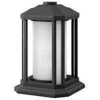 Hinkley 1397BK-LED Castelle LED 13 inch Black Outdoor Pier Mount, Ribbed Etched Cylinder Glass