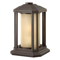 Castelle 1 Light 13 inch Bronze Pier Mount Lantern in Ribbed Etched, GU24, Ribbed Etched Glass