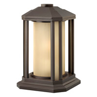 Castelle LED 13 inch Bronze Outdoor Pier Mount in Ribbed Etched Amber, Ribbed Etched Amber Cylinder Glass