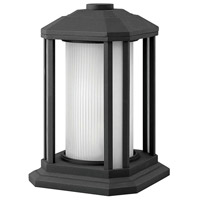 Hinkley Lighting Castelle 1 Light Pier Mount Lantern in Black with Ribbed Etched Cylinder Glass 1397BK-LED