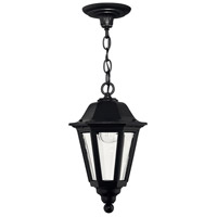 Manor House 1 Light 9 inch Black Outdoor Hanging Lantern, Clear Beveled Glass