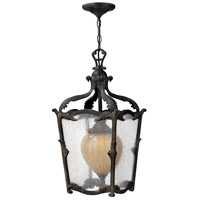Hinkley 1422AI Sorrento 1 Light 12 inch Aged Iron Outdoor Hanging Light in Clear Seedy and Optic Etched Amber
