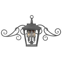 Trellis 3 Light 15 inch Aged Zinc Outdoor Wall Mount in Incandescent, Small