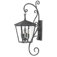 Hinkley 1436DZ Trellis 4 Light 34 inch Aged Zinc Outdoor Wall Mount in Candelabra, Large