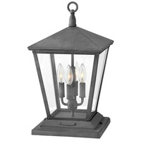 Hinkley 1437DZ Trellis 4 Light 20 inch Aged Zinc Outdoor Post Mount in Incandescent