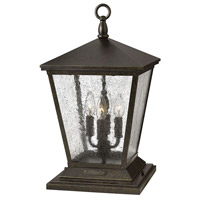 Hinkley 1437RB Trellis 4 Light 20 inch Regency Bronze Outdoor Post Mount in Incandescent, Clear Seedy Glass