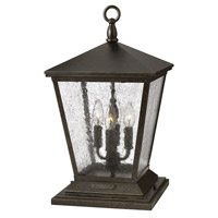 Hinkley Lighting Trellis 1 Light Pier Mount Lantern in Regency Bronze with Clear Seedy Glass 1437RB-LED