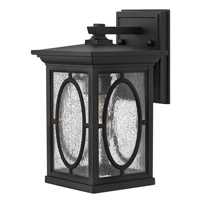 Hinkley Lighting Randolph 1 Light Outdoor Wall Lantern in Black with Clear Seedy and Etched Seedy Glass Panels 1490BK-LED