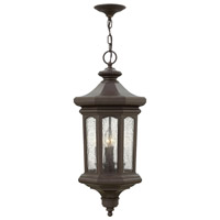 Hinkley 1602OZ Raley 4 Light 12 inch Oil Rubbed Bronze Outdoor Hanging Light, Clear Water Glass Panels